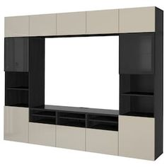 IKEA BESTÅ TV storage combination/glass doors Black-brown/selsviken high-gloss/beige clear glass 300 x 40 x 230 cm The drawers and doors have integrated push-openers, so you don't need handles or knobs and can open them with just a light push. Tv Storage Unit, Storage Spaces, Ikea Tv, Frame Shelf, Ikea Family, Drawer Runners, Steel Doors, Glass Shelves, Tv Consoles