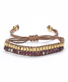 Add a dash of dazzle to lonely wrists with this beautiful bracelet. Boasting richly hued beads, gleaming gold plating and a convenient adjustable design, it's sure to collect compliments the minute it leaves the jewelry box.