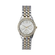 Two Tone Boyfriend watch with Decorative Dials - Silver/Gold - Merona,... ($20) ❤ liked on Polyvore featuring jewelry, watches, two tone, merona, gold jewelry, gold jewellery, 2 tone watches and two tone jewelry