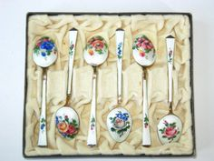 Rare boxed set of six vintage sterling and enamel demitasse spoons designed by David Andersen of Norway. From ModandMore on etsy.com $399.95