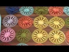 Oyasi Motivos y aparatos - Waving methodeİgne Oyasi Motivos y aparatos - Waving methode İğnelik ile motif yapımı Tenerife, Crochet Art, Crochet Motif, Loom Weaving, Tapestry Weaving, Dorset Buttons, Yarn Flowers, Hand Embroidery Stitches, Flower Embroidery