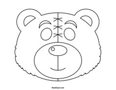 Bear mask template. There is also a coloring page version of the ...
