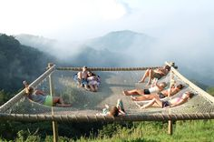 The World's Largest Hammock Is In A Colombian Hostel Outdoor Play, Outdoor Spaces, Outdoor Living, Outdoor Decor, Glamping, Tent Camping, Tree House Designs, Diy Pergola, Decks