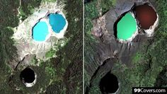 """The Lakes of Mount Kelimutu, Indonesia are considered to be the resting place for departed souls, the lakes are locally referred to as """"the lake of evil spirits"""". All 3 lakes change colour from blue to green to black or red unpredictably."""