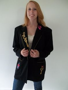 SOLD! THANK YOU! Novelty Jacket / blazer black with novelty by LilaCInspirations, $39.00