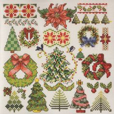 Counted Cross Stitch e-Pattern PdF file for handmade gift holiday greenery