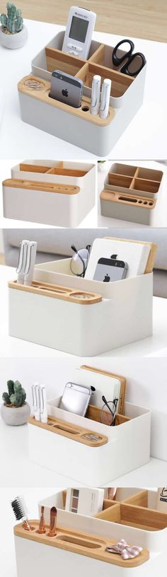 Bamboo Wooden Office Desk Organizer Storage Box  Pencil Holder  Business Card Holder Smart Phone Mobile Phone Dock Stand  Paper Clip Holder Collection Storage Box Organizer Remote control holder Organizer Memo Holder - Phone Stand,to organizer your office supplies