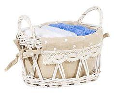 Set di 5 lavette in cotone con cestino Ilenia bianco/azzurro/avio - 30x30 cm