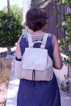 Durable backpack. Quality backpack. Women's backpack. Women's rucksack. Beige backpack. Hemp backpack. Multi pocket backpack. Backpack with key fobs. Beige Backpacks, Key Fobs, Hemp, Leather Backpack, Fashion Backpack, Pocket, Cotton, Bags, Women