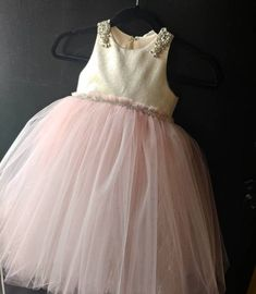 "Metallic gold top with pouffy blush tulle skirt ""Chloe"",special occasion dress , birthday, photoshoo Blush Tulle Skirt, Blush Dresses, Flower Girl Dresses, Tea Length Skirt, Chloe Dress, Fairy Dress, Gold Top, Custom Dresses, French Lace"