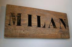 Naambordje steigerhout met stoere letters van verf