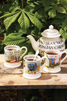 Emma Bridgewater Toast & Marmalade Four Cup Teapot and A Year in the Country 0.5 Pint Mugs