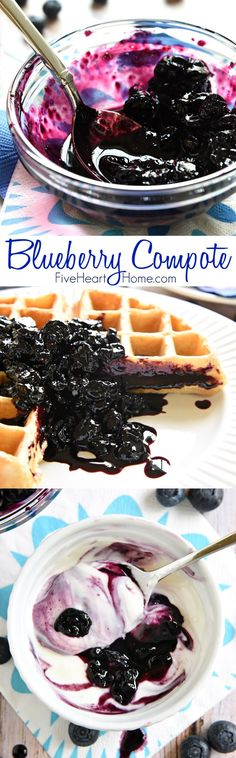 Blueberry Compote ~ frozen blueberries are cooked down into a glossy compote, sweetened with maple syrup and delicious over waffles, pancakes, pound cake, yogurt, ice cream, and so much more!   FiveHeartHome.com