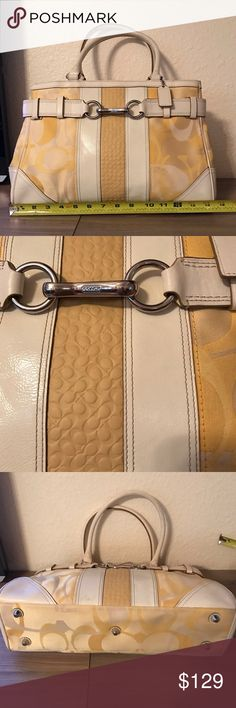COACH Authentic Signature yellow bag COACH Authentic Signature yellow bag. Pre-loved condition. Everything is shown on pictures. Small scuffs towards the bottom of the front and the bottom of the purse as well. Minor dirt marks. Love this purse! Please ask any questions. Coach Bags