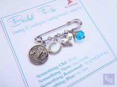 Bridal Charm Pin Something Old New Borrowed and Blue Lucky