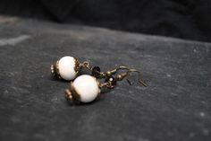 Boucles d'oreilles perles céramique cristal crochet bronze vintage