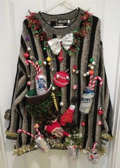 Hilarious Hillbilly Beer Can Decorations Ugly Christmas Sweater Mens 2XL Lightup | eBay