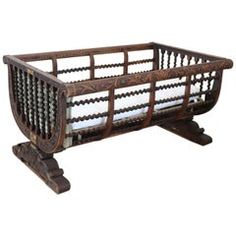 19th Century Italian Antique Carved and Turned Walnut Crib or Baby Bed Antique Crib, Rare Antique, Old Baby Cribs, Iron Crib, Wood Columns, The Calling, Baby Crib Bedding, Doll Beds, Walnut Wood
