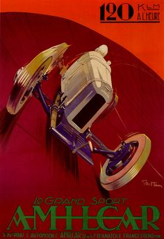 This is a fine art giclee print of a rare vintage Auto Racing Poster for Amalica Grand Sport Auto Racing by Geo Ham.