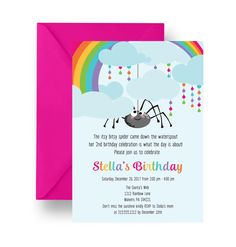 Colorful Itsy Bitsy Spider Birthday Party Invitation Girls Rainbow Invites Classic Print Your Own or Printed Invite First Birthday (IBSPCOL) by PaperCleverParty on Etsy https://www.etsy.com/listing/234097771/colorful-itsy-bitsy-spider-birthday
