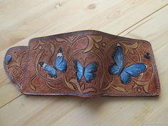 """Купить Кошелёк кожаный """"Бабочки"""" - коричневый, кошелек, подарок, подарок девушке, бабочки, подарок подруге"""