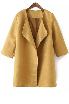 Turn-Down Collar Faux Suede 3/4 Sleeve Trench Coat