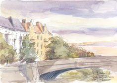 """Berlin Canal, watercolor sketch, ORIGINAL drawing, pencil and watercolor urban sketch, 8"""" x 5.75"""" Signed and dated by Catalina S.A."""