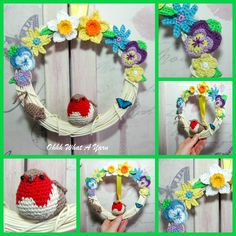Crochet robin, Spring wreath. Mixed media decorative wreath. £32.00 Crochet Robin, Crochet Mouse, Crochet Wreath, Handmade Decorations, Hanging Decorations, Beautiful Gifts, Beautiful Pictures, Spring Sign, Frame Wreath