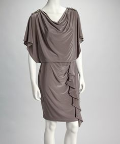Take a look at this Taupe Embellished Drape Dress - Women by R Richards on #zulily today!