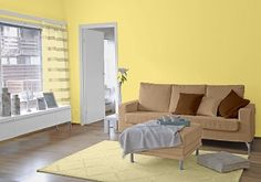Farbgestaltung Für Ein Wohnzimmer In Den Wandfarben: Gelb/Toffee/ Noisette