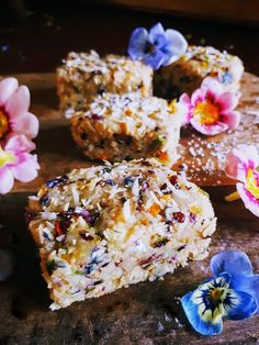 Primrose and Pansy Coconut-Oat Bars: So Pretty & Good for You Too! – gather