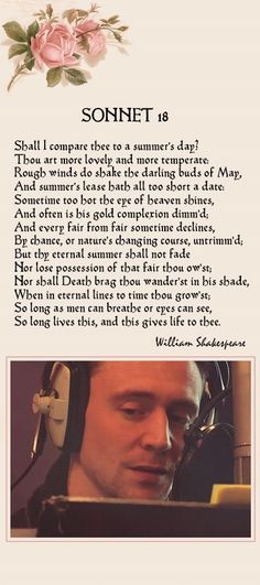 Tom Hiddleston, The Love Book app (available at your app store). Shakespeare's Sonnet 18 William Shakespeare Frases, Shakespeare Quotes, Shakespeare Insults, Osho, Poetry Quotes, Love Book, Beautiful Words, Motivation, Teaching