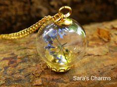 Glaskugelkette Vergissmeinnicht gold von Sara´s Charms auf DaWanda.com