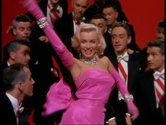 Marilyn Monroe in pink for Gentlemen Prefer Blondes.
