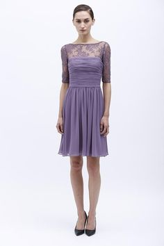 Monique Lhuillier | Spring 2014 | 450155 | Short, violet, modest neckline with lace sleeves. Sleeves<3