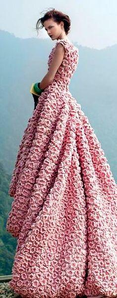 wedding dressses, pink roses, dress wedding, flower power, day dresses, rose gown, flowers garden