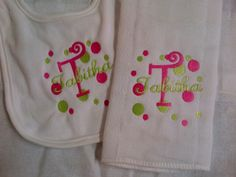 Personalized Bib & Diaper Burp Cloth Set  Monogrammed Baby's Name and Initial Polka Dots. $14.00, via Etsy.