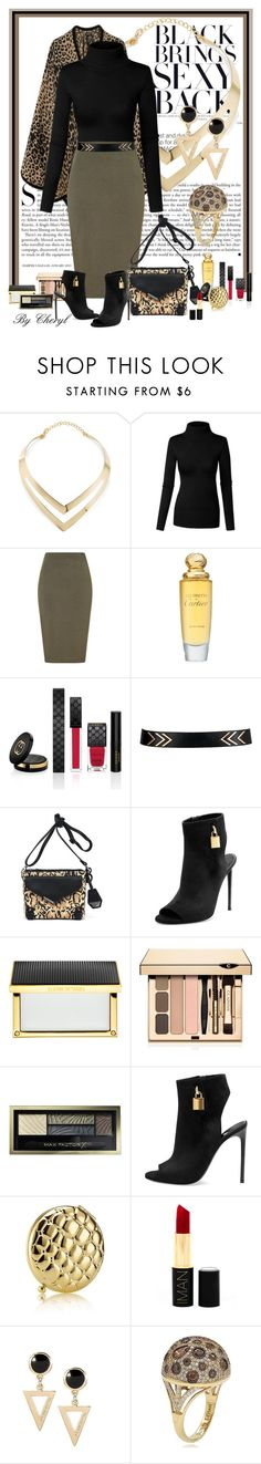 """Untitled #1634"" by cheryl-astablewoman ❤ liked on Polyvore featuring Kershaw, Fortuni, Lipsy, Cartier, Gucci, Jessica Simpson, Tom Ford, Elizabeth and James, Clarins and Max Factor"