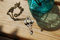 Typewriter Key Necklace Handmade with Gold by JustWearThese, $16.00