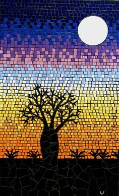 Baoab Tree in silhouette against an Australian outback sunset with a rising moon mosaic mural in ceramic tiles by Brett Campbell Mosaics