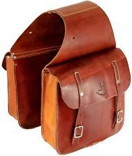Real Vintage Western Cowboy Leather Saddle Bags Hunting Trail Pack Horse Tack