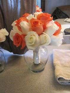 Coral & White Bridal Bouquet  Perfect for my church wedding but the rose colors may change!  :)  love this