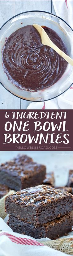 Fudgy and Rich One Bowl Brownies - Super easy and mixed in one bowl for easy clean up!