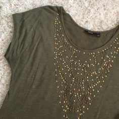 Olive Tee Like new and VERY soft! Cotton tee with gold and bronze detailing and relaxed sleeve fit. Pair with shorts or jeans! Apt. 9 Tops Tees - Short Sleeve