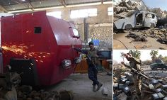Iraqi soldiers have discovered a bomb factory used by ISIS in Mosul featuring an armoured garbage truck painted in red to fool US spy planes.