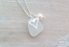 Scottish Sea Glass and Sterling Silver Heart Necklace - PURE LOVE £23.00