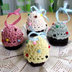 Crocheted Cupcake Ornaments