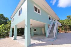 169 Sunrise Drive Key Largo, FL. | MLS# 568718 3d House Plans, House Plan With Loft, Dream House Plans, Real Estate Sales, Luxury Real Estate, Two Bedroom Tiny House, Key Largo Fl, House On Stilts, House Roof