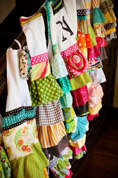 Fun, frilly aprons.  You could do them with Christmas fabrics or not :)