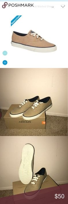 Sperry Sneakers Size 9 Enjoy these brand new never worn Memory Foam comfortable Pier Edge Washed Sand style and color Sperry Sneakers!! You get to be stylish and comfortable at the same time!!! WHOA ???????? NWOT Sperry Shoes